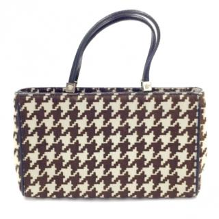 Versace Calf Hair Houndstooth Evening Tote Bag Small Handbag