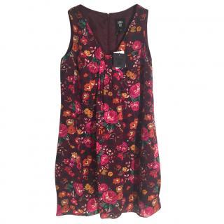 ANNA SUI 100% silk burgundy multi coloured floral print dress