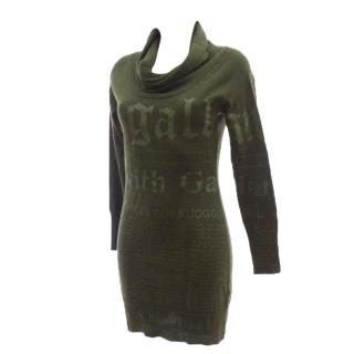 GALLIANO Green Khaki News Letter Wool Dress