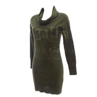 GALLIANO Green Khaki News Letter Wool Dress