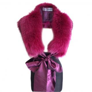 Ella Singh fox scarf with silk organza tying