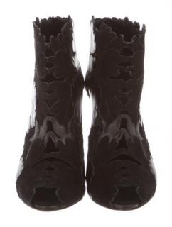 Alexander McQueen Cutout Suede and Leather Ankle Boots