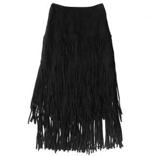 NEW Alexander McQueen McQ goat leather fringe skirt