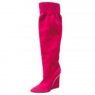 Casadei High heel Wedge Boots SUEDE pink fuchsia 37 long