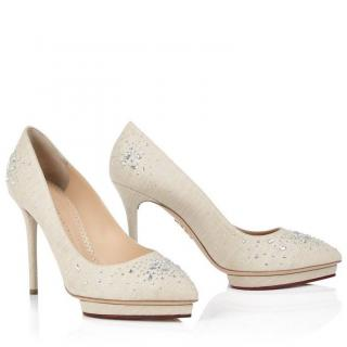 Charlotte Olympia Bejeweled Debbie crystal-embellished canvas pumps
