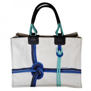 LONG CHAMP White Canvas Tote Bag