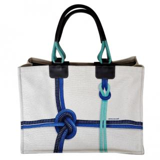 LONG CHAMP White Canvas Tote Bag