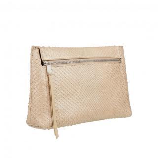 William & Son Bruton Zipped Pouch Handbag in Ecru Python