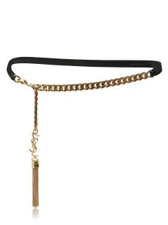Saint Laurent leather and chain tassel belt