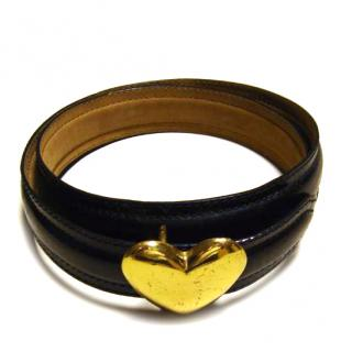 Moschino black leather belt with heart