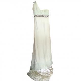 Roberto CavalliPale Green Chiffon & Silk Embellished Gown - NEVER WORN