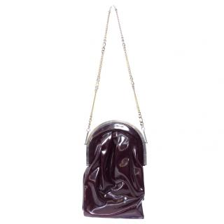 Charles Jourdan Brown Patent Leather Long Chain Vintage Clutch