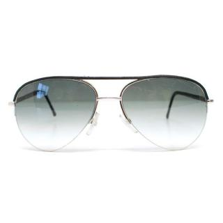 Cutler & Gross Silver & Black Aviator Sunglasses