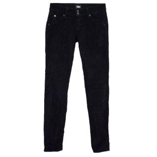 Hudson Black Corduroy Straight Leg Jeans