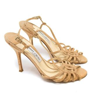Jimmy Choo Nude Strappy Sandal Heels with Gold Spots