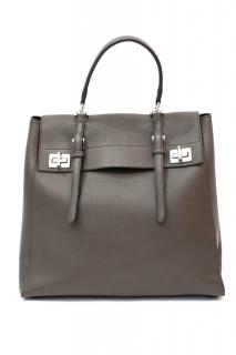 Prada Half Flap Double Turn Lock Satchel Lux Calf North South Bag