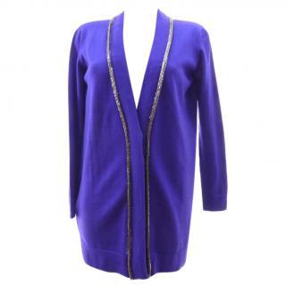 Versace Blue Long Embellished Wool Cardigan