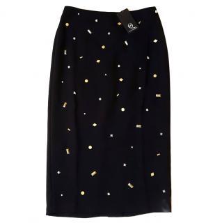 NEW Alexander McQueen McQ Gold Detailed Skirt