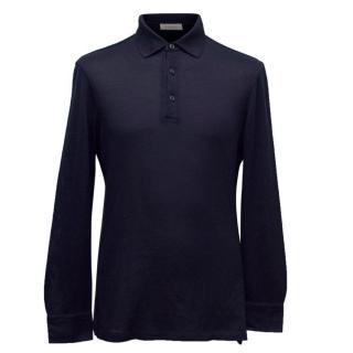 Ermenegildo Zegna Long Sleeve Navy Jersey Polo Shirt