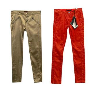 Catimini & Ikks Girls Red Coated Jeans & Gold Jeans Set