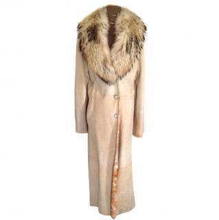 Gam Rome Sheepskin Shearling Leather Long Coat with Fox Collar