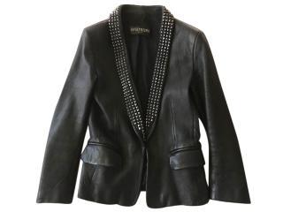 Balmain Blazer/ Jacket in Smooth Black Leather with Dark Metal Studs