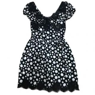 Dolce & Gabanna Silk Dress with Lace Trim