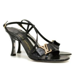 Louis Vuitton Black Snake Print Sandal Heels