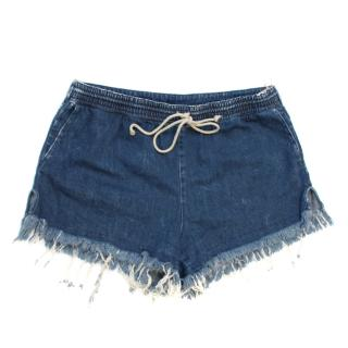 Chloe Washed Drawstring Denim Shorts