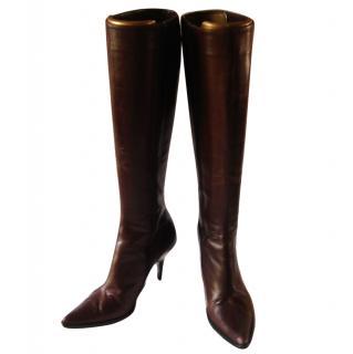 Giorgio Armani Brown Leather Knee Length Boots