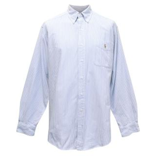 Ralph Lauren Mens White and Blue Striped Classic Fit Shirt