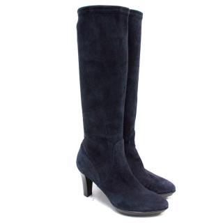 Aquatalia Rumbah Navy Blue Suede Heeled Knee High Boots
