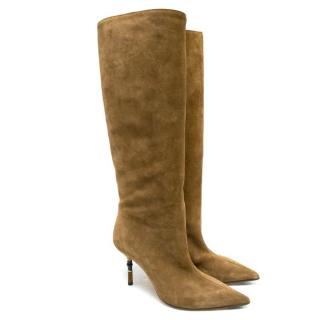 Gucci Brown Suede Knee High Heeled Boots