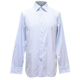 Ermenegildo Zegna Mens White and Blue Striped Shirt