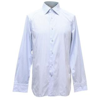 Ermenegildo Zegna Mens White and Blue Striped Shirt