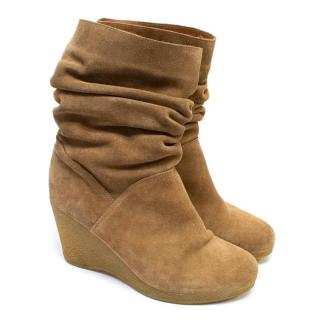 Russell & Bromley Brown Wedge Boots