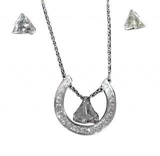 Diamond Horse Shoe Horse Head Necklace & Earrings