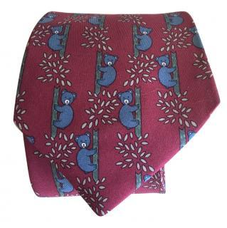 Hermes Koala Bear print Silk Tie