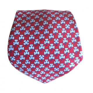 Hermes Clover Design Silk Tie
