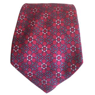 Hermes Floral Design Silk Tie