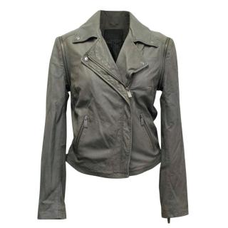 Line Grey Leather Jacket with Removable Sleeves
