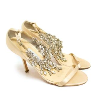 Jimmy Choo Nude Satin Sandals with Crystal Embellishments
