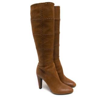 Prada Brown Leather Knee High Heeled Boots