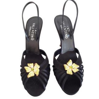 Valentino Satin High Sandals with Strass Flower