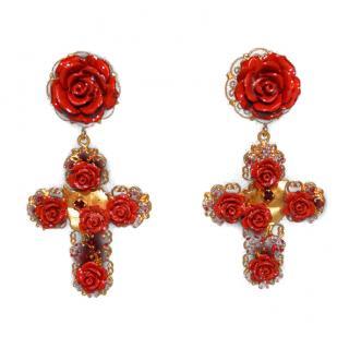 Dolce & Gabbana Roses Crosses Earrings