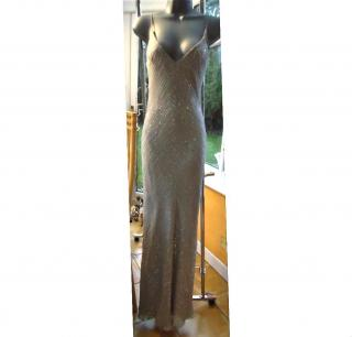 JENNY PECKHAM- SILVER SILK EMBELLISHED GOWN RRP �1050