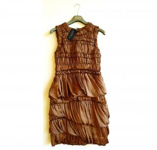 Burberry Prorsum Old Gold Silk Dress Italian Size 42