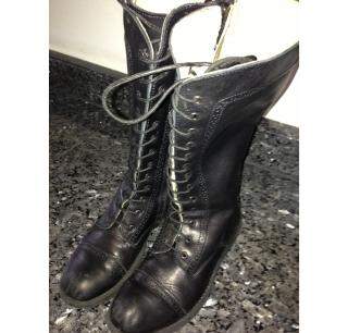 Step 2 Black Lace Up Boots Size 32