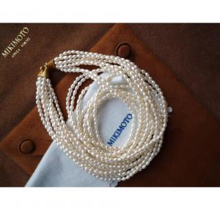 MIKIMOTO FRESHWATER 8 LINE PEARL AND GOLD NECKLACE