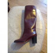 Knee High Louboutin Burgundy Boots Size 39.5
